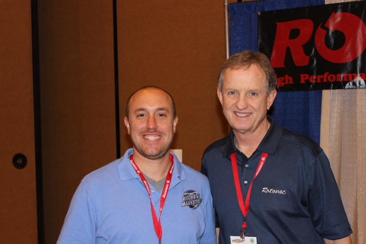 Chuck Monson and I at the Rotovac booth. Chuck actually got me into the cleaning business over 5 years ago